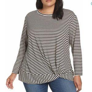 Caslon Stripe Tee Women Knot Crew Soft Shirt NEW